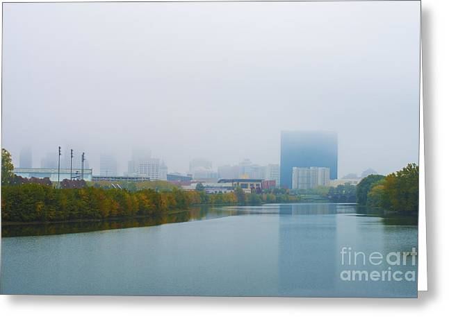 Indianapolis Autumn Skyline Fog Greeting Card by David Haskett