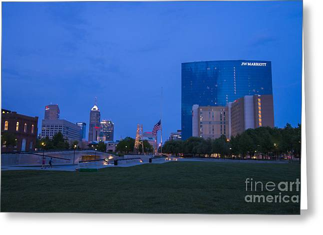 Indianapolis 500 Greeting Cards - Indianapolis Blue Hour Skyline Greeting Card by David Haskett