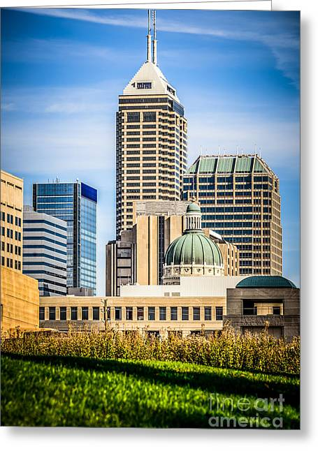 Indiana Photography Greeting Cards - Indianapolis Cityscape Downtown City Buildings Greeting Card by Paul Velgos