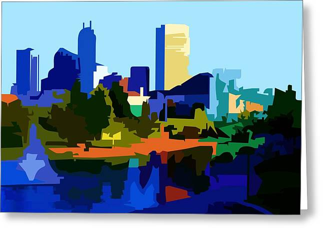Indycar Greeting Cards - Indianapolis Cityscape Greeting Card by P Dwain Morris