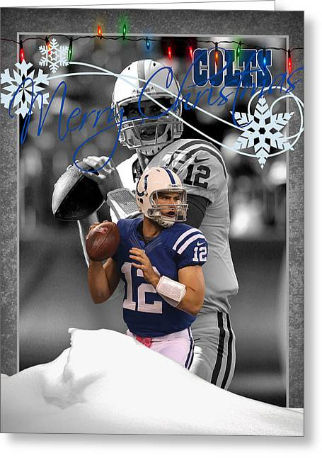 Colts Greeting Cards - Indianapolis Colts Christmas Card Greeting Card by Joe Hamilton