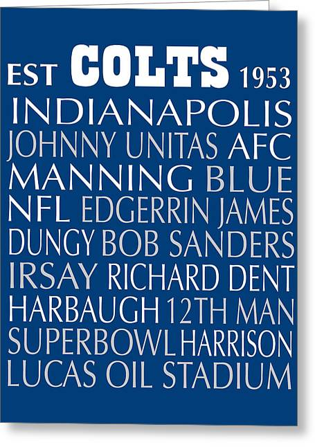 Football Words Greeting Cards - Indianapolis Colts Greeting Card by Jaime Friedman