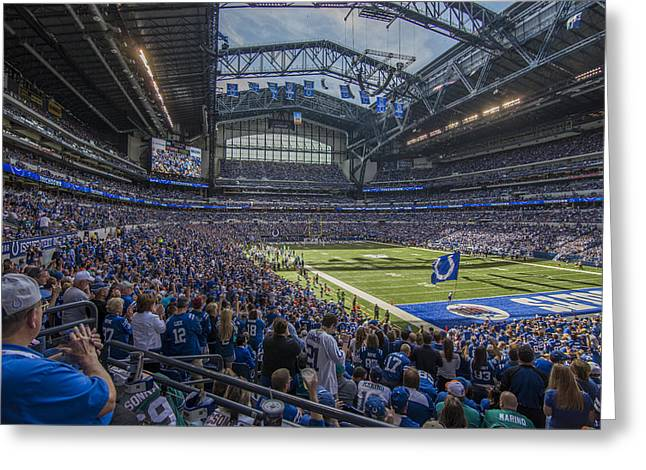 Andrew Luck Greeting Cards - Indianapolis Colts Lucas Oil Stadium 3229 Greeting Card by David Haskett