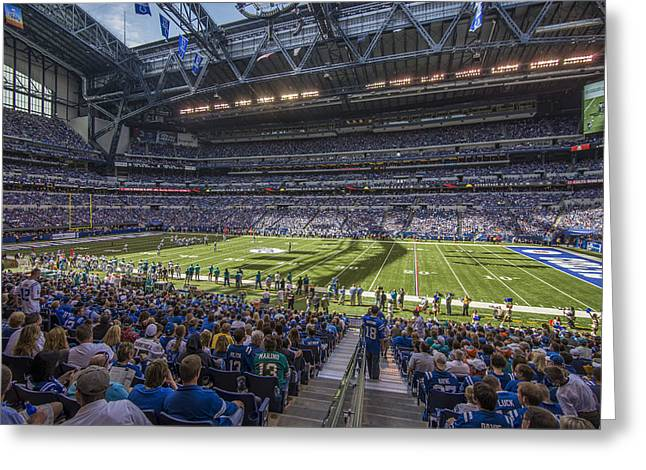Andrew Luck Greeting Cards - Indianapolis Colts Lucas Oil Stadium 3241 Greeting Card by David Haskett