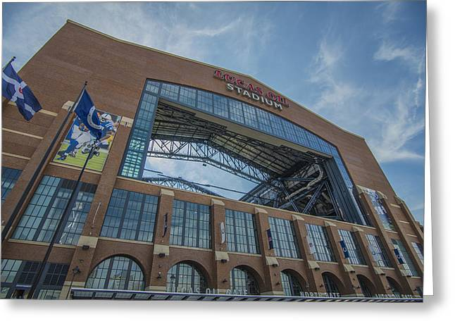 Field Goal Greeting Cards - Indianapolis Colts Lucas Oil Stadium 3260 Greeting Card by David Haskett