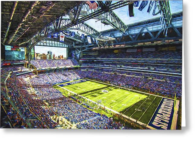 Monument Circle Greeting Cards - Indianapolis Colts Lucas Oil Stadium Painted Digitally Greeting Card by David Haskett