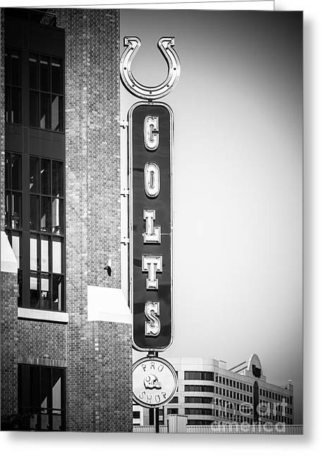 Indiana Photography Greeting Cards - Indianapolis Colts Sign Picture in Black and White Greeting Card by Paul Velgos