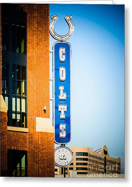 Horseshoes Greeting Cards - Indianapolis Colts Sign Picture Greeting Card by Paul Velgos