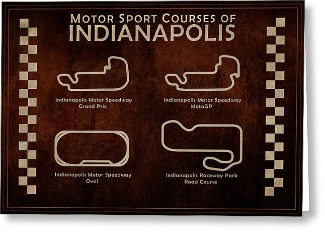 Oval Greeting Cards - Indianapolis Courses Greeting Card by Mark Rogan