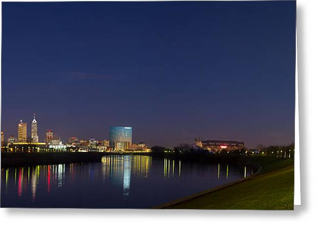 Indiana Christmas Greeting Cards - Indianapolis from White River Greeting Card by Twenty Two North Photography