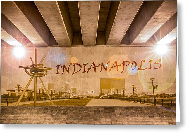 Industrial Concept Greeting Cards - Indianapolis Graffiti Skyline Greeting Card by Semmick Photo