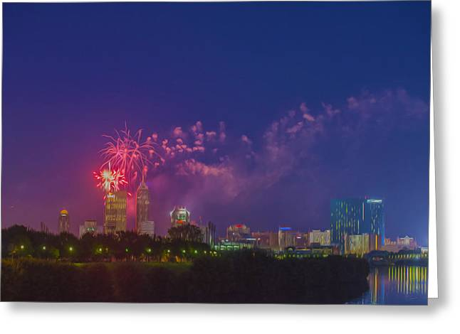White River Greeting Cards - Indianapolis Indiana 4th July Digital Oil  Greeting Card by David Haskett