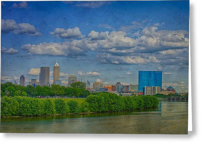 Jw Marriott Greeting Cards - Indianapolis Indiana HDR Skyline Texture 9906 Greeting Card by David Haskett