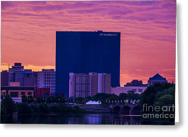 Jw Marriott Greeting Cards - Indianapolis Indiana JW Marriott Sunrise Greeting Card by David Haskett