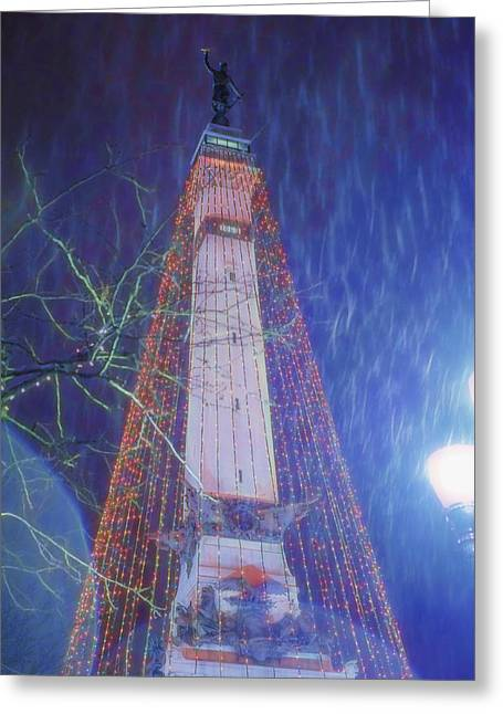 Indiana Christmas Greeting Cards - Indianapolis Indiana Monument Circle Christmass Tree Greeting Card by David Haskett