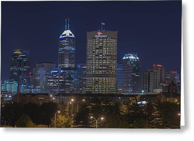 Monument Circle Greeting Cards - Indianapolis Indiana Night Skyline Blue Greeting Card by David Haskett