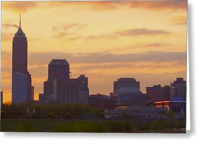 Jw Marriott Greeting Cards - Indianapolis Indiana Oil 3000 Greeting Card by David Haskett