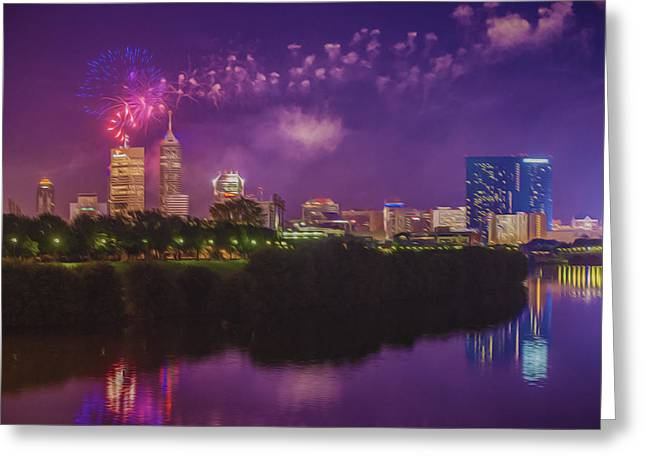 4th Of July Prints Greeting Cards - Indianapolis Indiana OIL Fireworks 4th of July Greeting Card by David Haskett