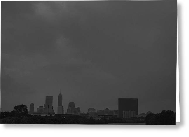 Monument Circle Greeting Cards - Indianapolis Indiana Raining Black White Grain Greeting Card by David Haskett