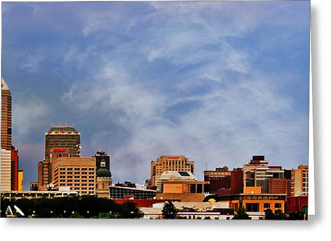 Jw Marriott Greeting Cards - Indianapolis Indiana Skyline  0762 Color Greeting Card by David Haskett