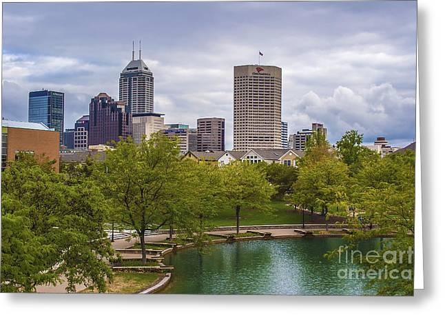 Hoosiers Greeting Cards - Indianapolis Indiana Skyline 1000 Greeting Card by David Haskett