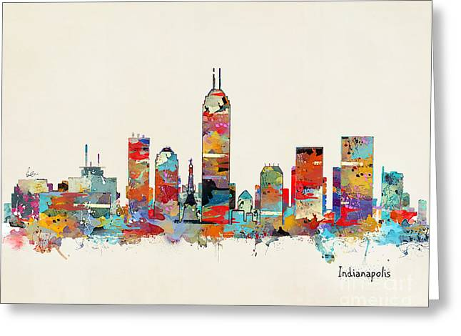 Indiana Paintings Greeting Cards - Indianapolis Indiana skyline Greeting Card by Bri Buckley