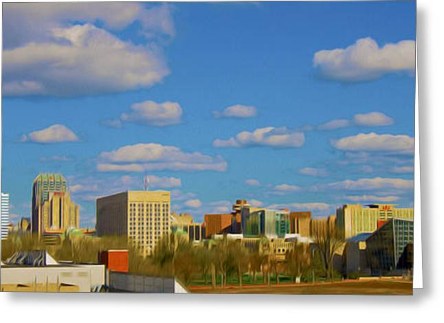 Jw Marriott Greeting Cards - Indianapolis Indiana Skyline C 700 OIL  Greeting Card by David Haskett