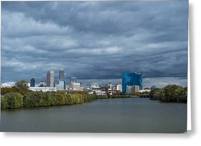 Indiana Autumn Greeting Cards - Indianapolis Indiana Skyline FJ Storm Greeting Card by David Haskett