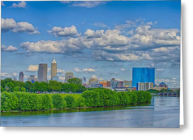 Jw Marriott Greeting Cards - Indianapolis Indiana Skyline HDR 9906 Greeting Card by David Haskett