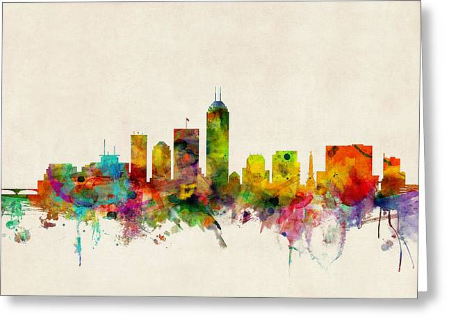 Urban Watercolour Greeting Cards - Indianapolis Indiana Skyline Greeting Card by Michael Tompsett