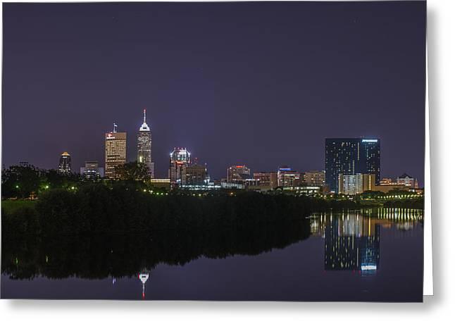 Jw Marriott Greeting Cards - Indianapolis Indiana Skyline Night 9891 Greeting Card by David Haskett