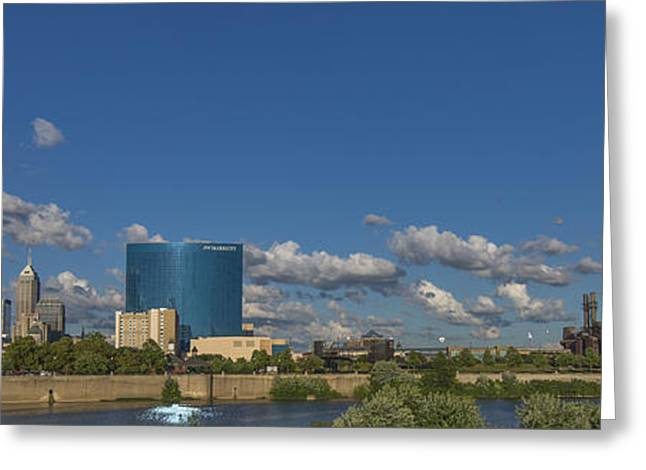 Monument Circle Greeting Cards - Indianapolis Indiana Skyline Pano 10 Greeting Card by David Haskett