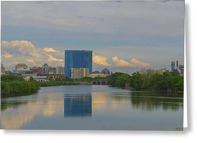 Jw Marriott Greeting Cards - Indianapolis Indiana Skyline Panoramic Greeting Card by David Haskett