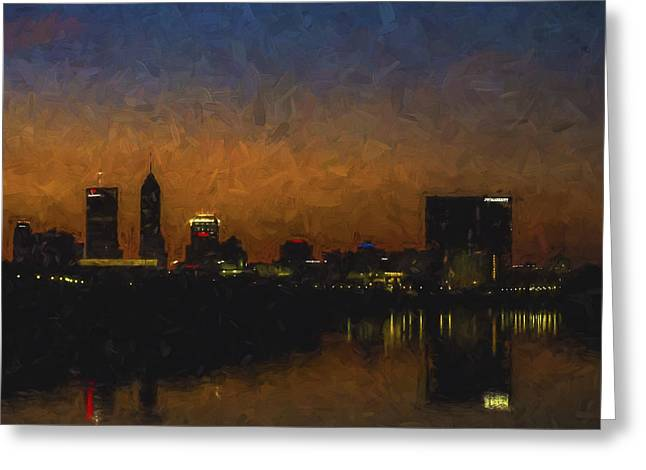 White River Greeting Cards - Indianapolis Indiana Skyline Sunrise SQuare Digitally Painted Greeting Card by David Haskett