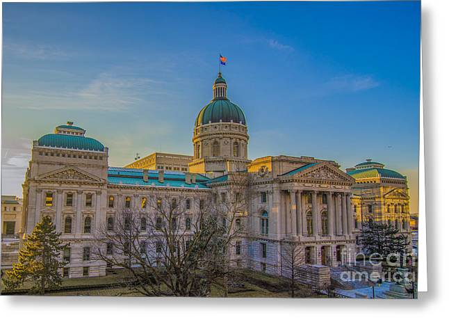 Indiana Art Greeting Cards - Indianapolis Indiana State House Greeting Card by David Haskett