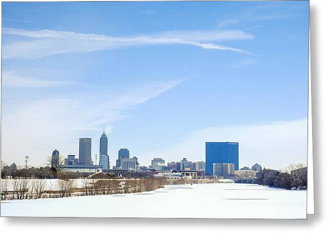 Monument Circle Greeting Cards - Indianapolis indiana Winter Snow Greeting Card by David Haskett