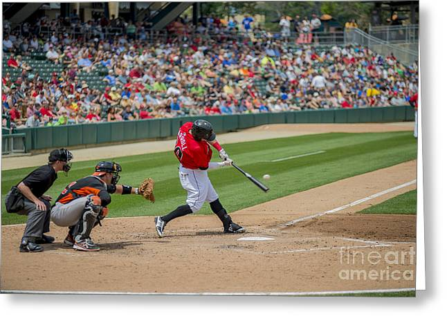 Indianapolis Indians Brett Carroll June 9 2013 Greeting Card by David Haskett