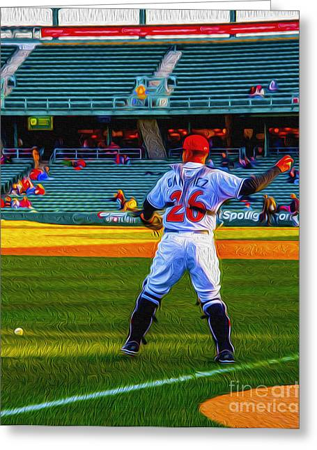 Indy Indians Greeting Cards - Indianapolis Indians Catcher Greeting Card by David Haskett