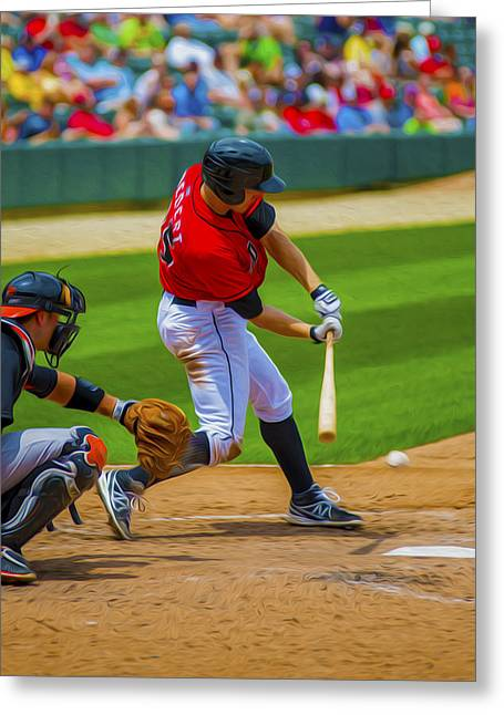 Indy Indians Greeting Cards - Indianapolis Indians Jared Goedert Digital OIL Painting Greeting Card by David Haskett