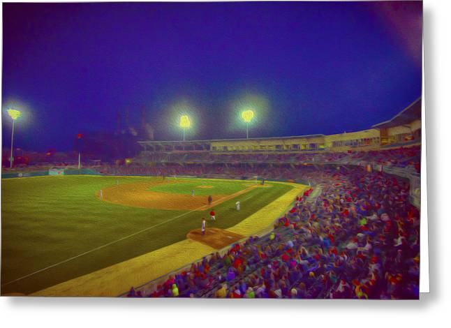 Baseball Photographs Greeting Cards - Indianapolis Indians Night Oil V Greeting Card by David Haskett