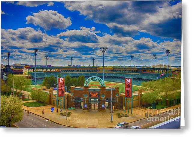 Indianapolis 500 Greeting Cards - Indianapolis Indians Victory Field Greeting Card by David Haskett