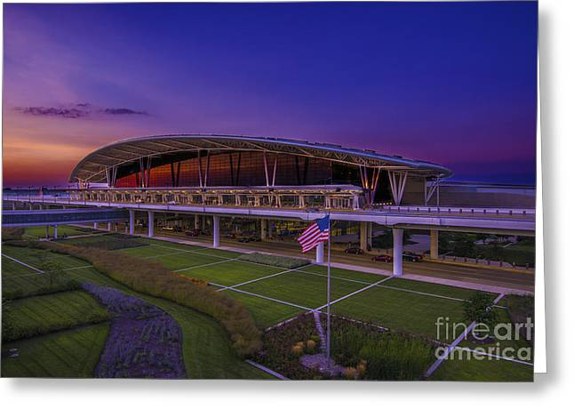 Indiana Autumn Greeting Cards - Indianapolis International Airport Sunset Alpha Greeting Card by David Haskett