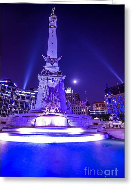 Jw Marriott Greeting Cards - Indianapolis Monument Circle Night Greeting Card by David Haskett