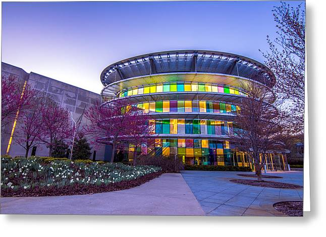 Indiana Art Greeting Cards - Indianapolis Museum of Art Blue Hour Lights Greeting Card by David Haskett