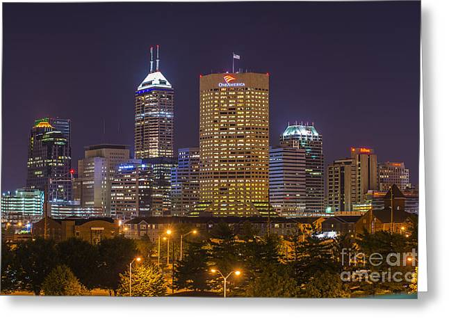 Cubicle Greeting Cards - Indianapolis Night Skyline Echo Greeting Card by David Haskett