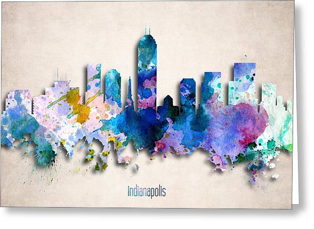 Indiana Art Digital Art Greeting Cards - Indianapolis Painted City Skyline Greeting Card by World Art Prints And Designs