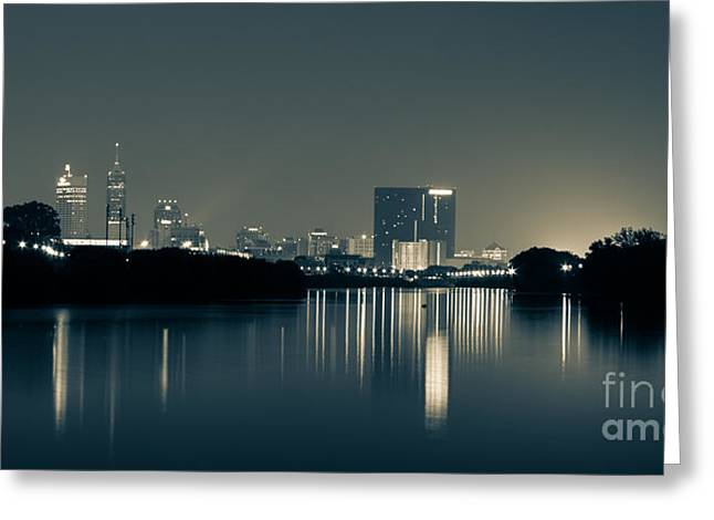 Reflections In River Greeting Cards - Indianapolis reflection Greeting Card by Jose Sanchez