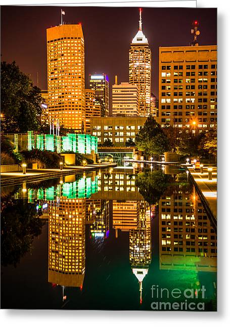 Indiana Photography Greeting Cards - Indianapolis Skyline at Night Canal Reflection Picture Greeting Card by Paul Velgos