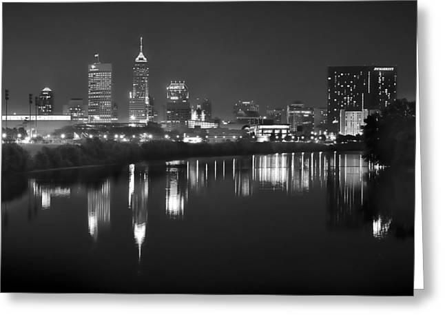 Downtown Indiana Greeting Cards - Indianapolis Skyline at Night Indy Downtown Black and White BW Panorama Greeting Card by Jon Holiday