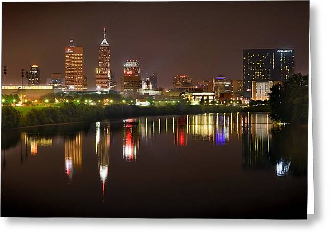 Indianapolis Skyline At Night Indy Downtown Color Panorama Greeting Card by Jon Holiday